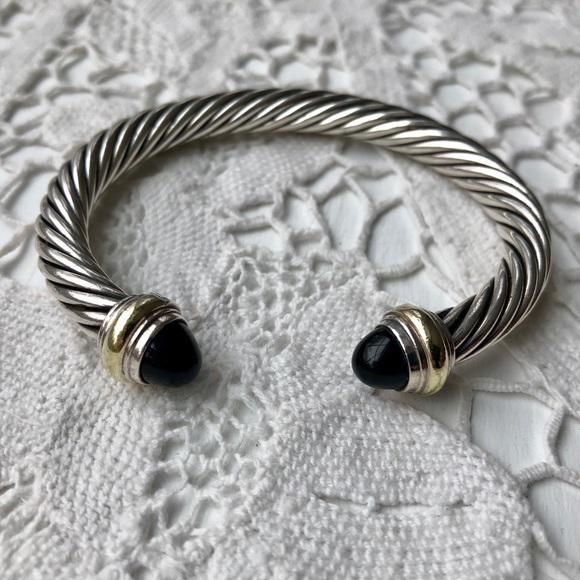968f54cd4c1908 David Yurman Jewelry - David Yurman Black Onyx 14k Gold Cable Bracelet